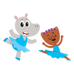 Cute little hippo and bear puppy and kitten characters dancing ballet together, cartoon vector illustration isolated on white background. Little bear and hippo ballet dancers, ballerinas