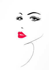Beautiful face of a woman with a red sexy lips, vector illustration