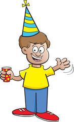 Cartoon illustration of a boy wearing a party hat and waving.