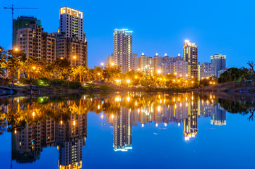 night view of kaohsiung by the water