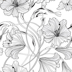 Floral seamless pattern. Flower lily bouquet background. Spring doodle line decor