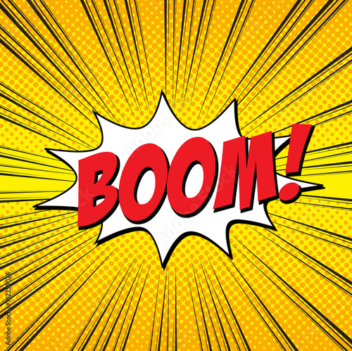 Lettering boom  Comic text sound effects pop art style