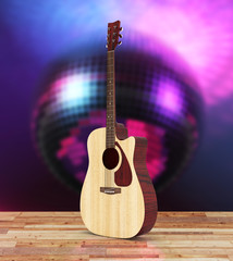 Acoustic guitar on wood floor and disco ball background 3d