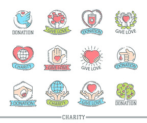 Donate money set logo icons help icon donation contribution charity philanthropy symbols humanity support vector