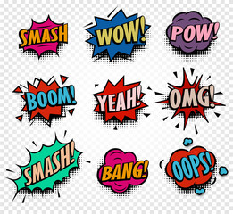 Isolated abstract colorful comics speech balloons icons collection on checkered background, dialog boxes with popular expressions set,pop art dialog frames vector illustration.