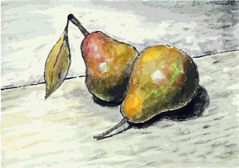 Pears. Illustration of pear fruits. Pear with a leaf.