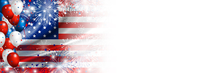 USA flag with fireworks and balloon background for 4 july independence day