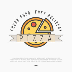 Pizza logo with thin line icons for menu design of restaurant or pizzeria. Vector illustration.