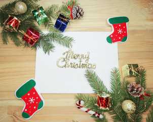 christmas greeting card to santa with copy space and decoration
