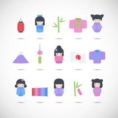Japan vector flat icon set