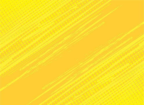 Yellow background hatch with halftone effect. Vintage pop art retro comic vector illustration