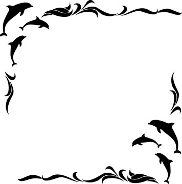 square monochrome frame with dolphins. vector