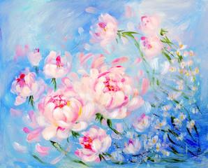 Kwitnący różowy peonyon błękita tło. Obraz olejny na płótnie