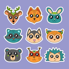 Fashion patch badges with deer, squirrel, hare, rabbit, owl, raccoon and other. Very large set of girlish and boyish stickers, patches in cartoon isolated.Trendy print for backpacks, things, clothes