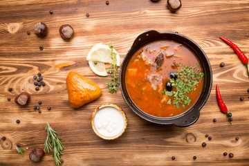 Traditional Russian meat soup - Solyanka