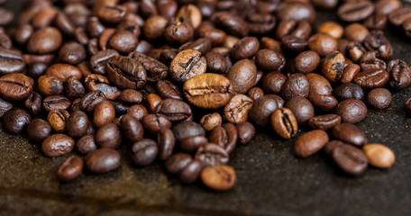 Background roasted coffee beans
