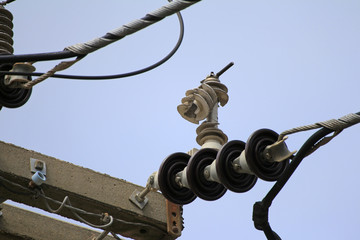 Damage Lightning Arrester on Electrical Pole