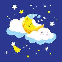 Cute crescent sleeping on a cloud. Vector illustration is suitable for greeting cards and prints on t-shirts.