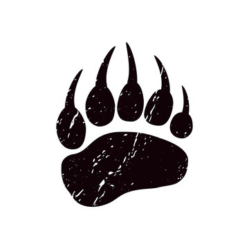 A trace a bear. Black silhouette of paw on a white background. Vector. The imprint of a bear s foot. Logo of the footprint.