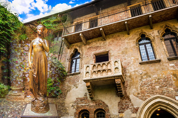 A collage of photos of a bronze statue of Juliet and a balcony juliet Verona Italy