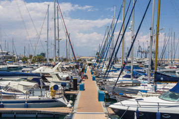 Boats and yachts moored off in marina of Larnaka, Cyprus