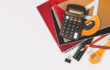 School supplies used in math class, geometry or science. Mathematics geometry tool for student in math class with copy space for text and isolated on white background. Mathematics concept.