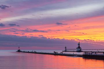 St. Joseph Afterglow - Lighthouses at St. Joseph Michigan after Sundown