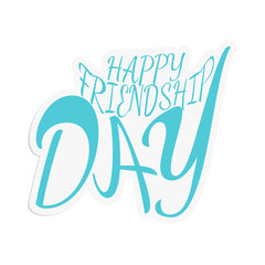 Happy friendship day vector illustration of stickers with turquoise congratulatory inscription