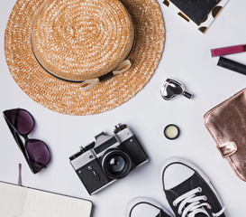 Hat, camera and other woman's stylish accessories