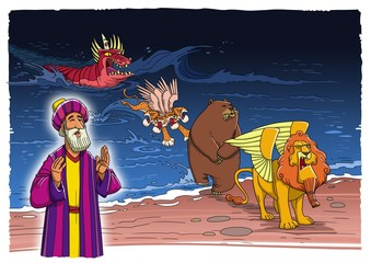 The prophet Daniel sees a vision about the beasts coming up out of the sea Fotomurales