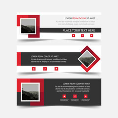 Red square corporate business card, name card template ,horizontal simple clean layout design template , Business banner template for website