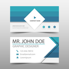 Blue square corporate business card, name card template ,horizontal simple clean layout design template , Business banner template for website