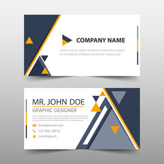 Black yellow triangle corporate business card, name card template ,horizontal simple clean layout design template , Business banner template for website