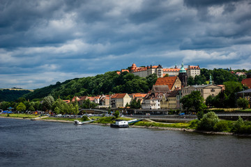 Pirna city over the Elbe river in Saxon Switzerland, Germany