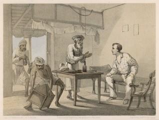Obraz British raj  man brought refreshments 1860. Date: 1860 - fototapety do salonu