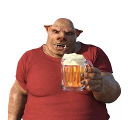Boar's Head Man Enjoys a Beer