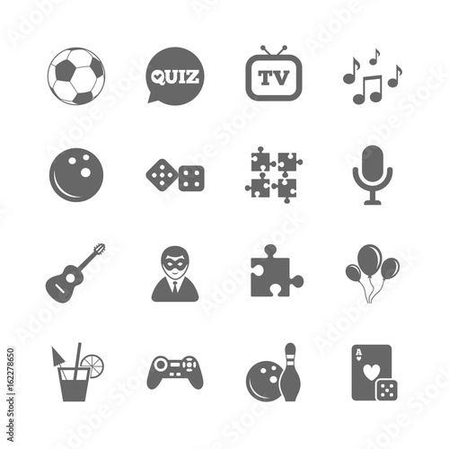 Set Of Games Entertainment And Services Icons Football Bowling