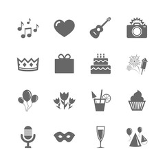 Set of Celebration, Birthday and Party icons. Fireworks, Air balloon and Champagne glass signs. Gift box, Cake and Photo camera symbols. Music and cocktails. Vector