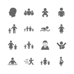 Set of People and Family icons. Swimming pool, Love and Children signs. Mother, Father and Pregnant woman symbols. Isolated flat icons set on white background. Vector