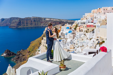 Wedding couple  on  Santorini