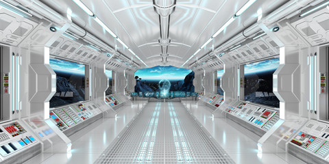 Spaceship interior with view on the planet Earth 3D rendering elements of this image furnished by NASA