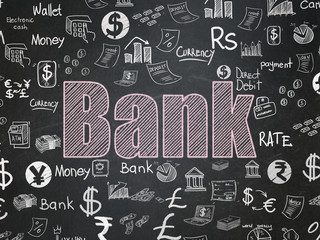 Banking concept: Bank on School board background