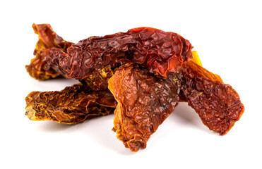Dried tomatoes on a white background