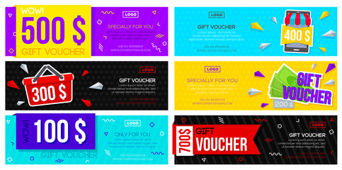 Set of colorful gift vouchers. Collection discount flyers template with various design. Vector illustration