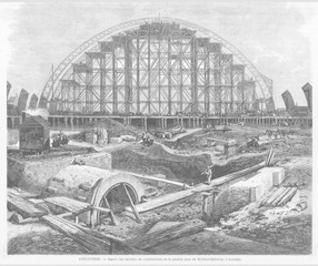 Construction of St. Pancras Station. Date: 1868