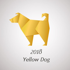 Yellow Dog in Origami Style vector icon. 2018 new year symbol