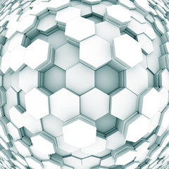 design element. 3D illustration. rendering. abstract hexagon black and white  background