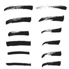 Brush set, black ink, brush strokes, grunge brush lines. Hand drawn design elements
