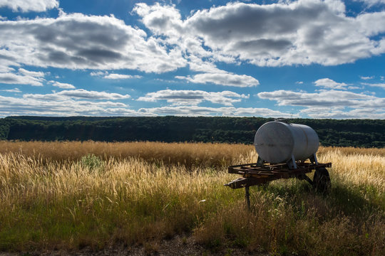 Agricultural water tank trailer in the wild