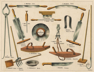 Leather making and tannery tools. Date: 1875